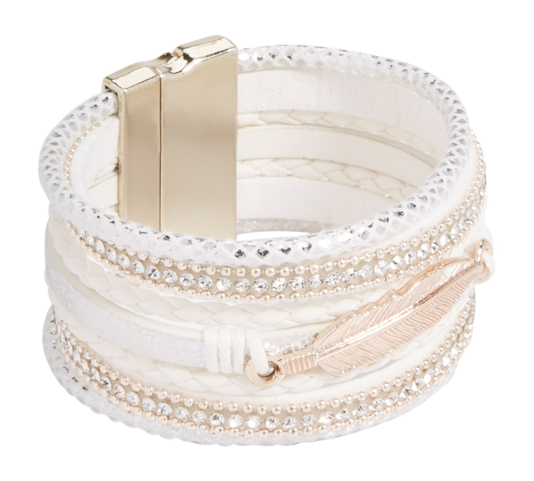 maurices Women's Magnetic Feather Bracelet Misc White