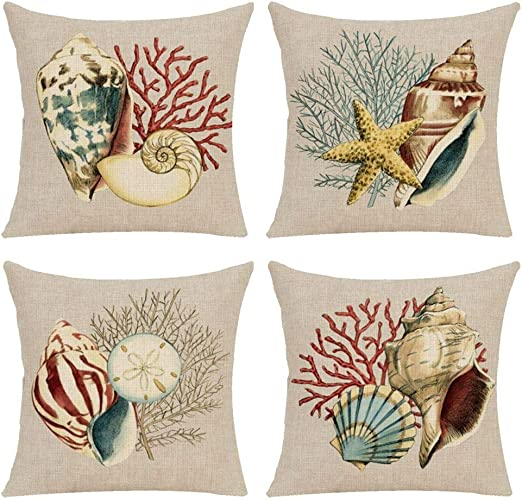 Two 2 for 20 Black Conch shell shells bedding white nautical pillowcase cover