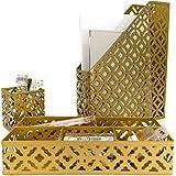 Blu Monaco Gold Desk Organizer for Women - 3 Piece Desk Accessories Set - Pen Cup, Magazine-File-Mail Holder, and Accessories Tray – Antique Gold Brass Finish