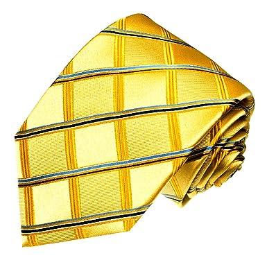 LORENZO CANA - Marcas corbata de seda 100% cuadros cuadros, Oro ...