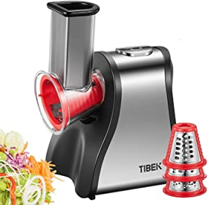 TIBEK Electric Slicer Grater, Cheese Grater Electric for Home Kitchen Use, One-Touch Easy Control 5 in 1 Multi Shredder, Salad Maker Machine for Fruits, Vegetables, Cheeses, 200W, BPA-Free, Red