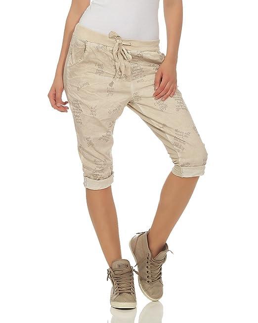 ZARMEXX Pantaloni corti Capri Pantaloncini bermuda da donna Pantaloncini  leggeri lavati e leggeri dal look vintage 9d2ed8fc1b84