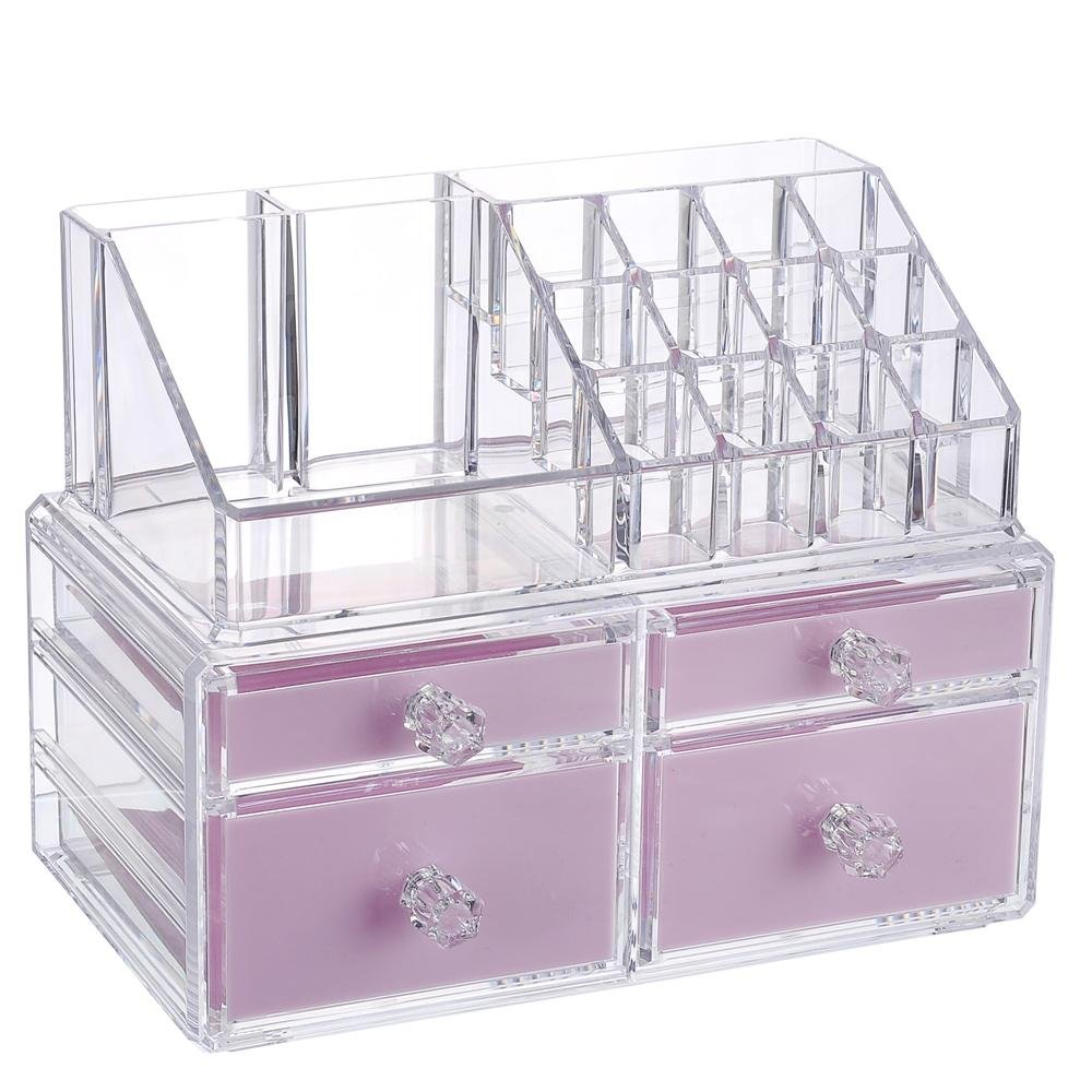 """Younghoo Best Acrylic Cosmetic Makeup Organizer 2 Piece Box with Multi Compartments for Organization & Storage Jewelry Display & Drawers Clear Display Rack Holder-9 3/8"""" x 5 ½"""" x 7 3/8"""""""