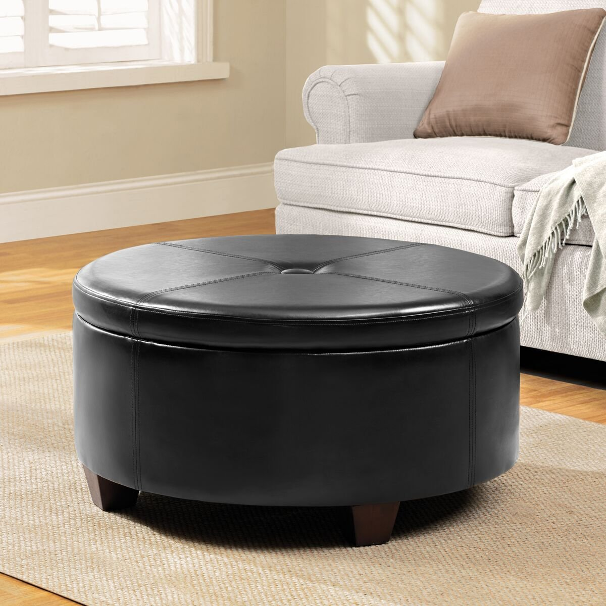 HomePop K5508-E676 Leatherette Round Button Tufted Storage Ottoman, 31.75'' x 16.50'', Black by HomePop (Image #2)