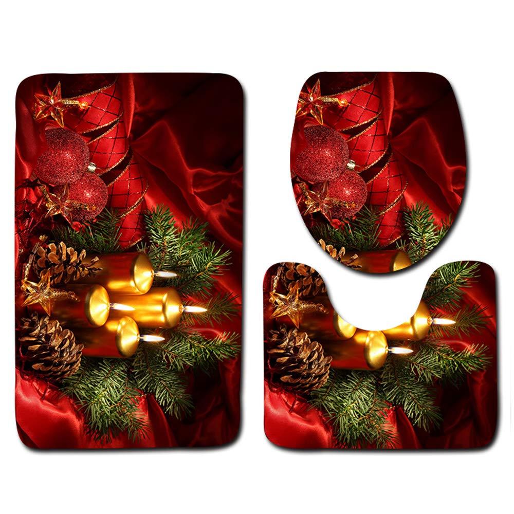 papasgix 3 Piece Merry Christmas Bath Mat Set, Bathroom Mats Set Non-Slip Bathroom Rugs/Contour Mat/Toilet Cover Caiying.co