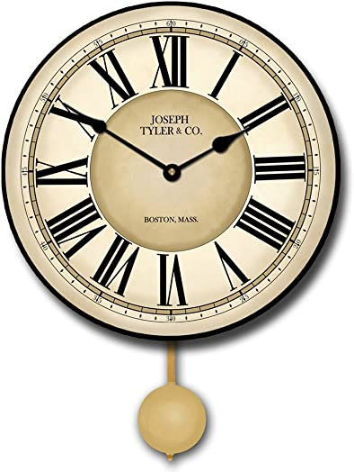 Waterford Pendulum Wall Clock, Available in 5 Sizes, Whisper Quiet, Non-Ticking