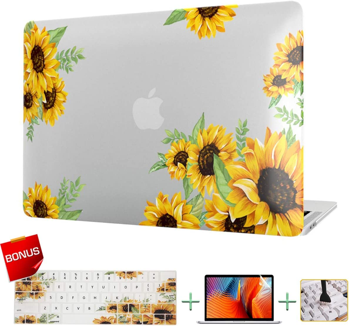 VAESIDA MacBook Pro 13 Inch Case Sunflower, Laptop Case Hard Shell Cover Only for Mac Pro 13 inch (Older Version With CD Drive 2008-2012 Release, Model: A1278) with Keyboard Cover and Screen Protector