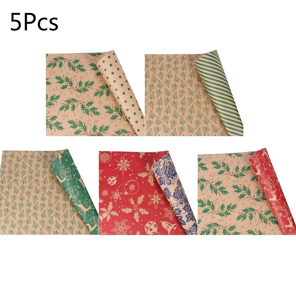 sacchetti regalo di carta carta kraft per regali di Natale 5 rotoli di carta da regalo natalizia Chaoxiner