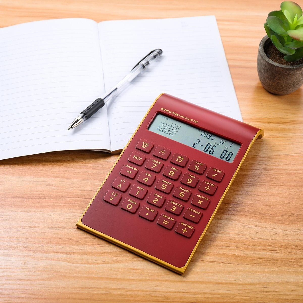 Caveen Calculator Ultra Thin Solar Power Calculator for Home Office Desktop Calculator Tilted LCD Display Business Calculator (Upgrade, Red)