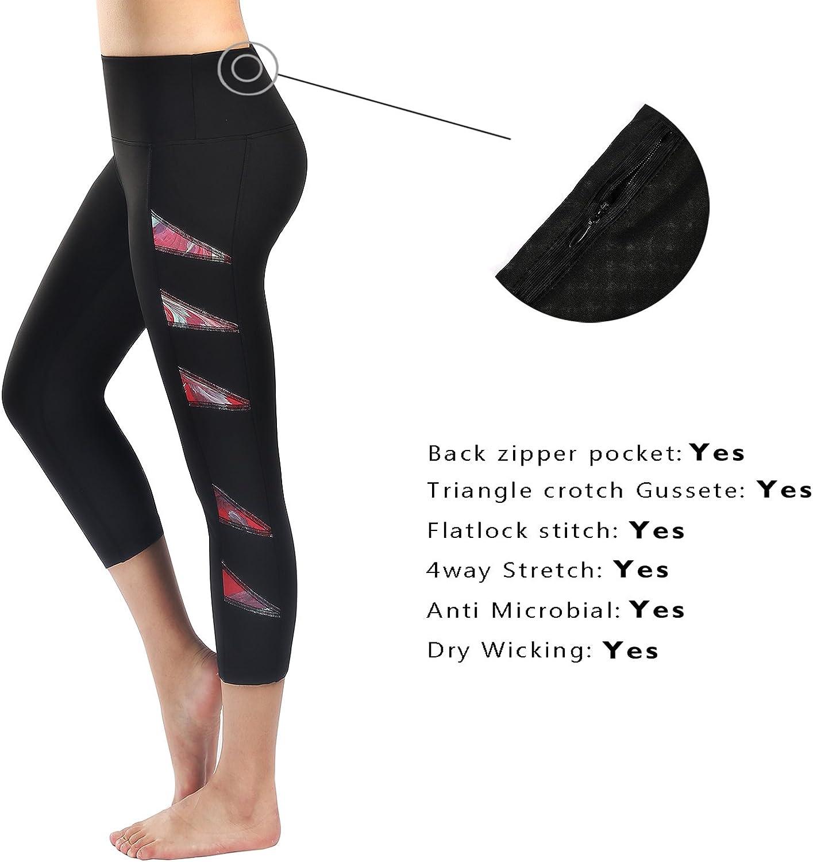 Flatik Womens Yoga Capri Leggings Running Workout Capri