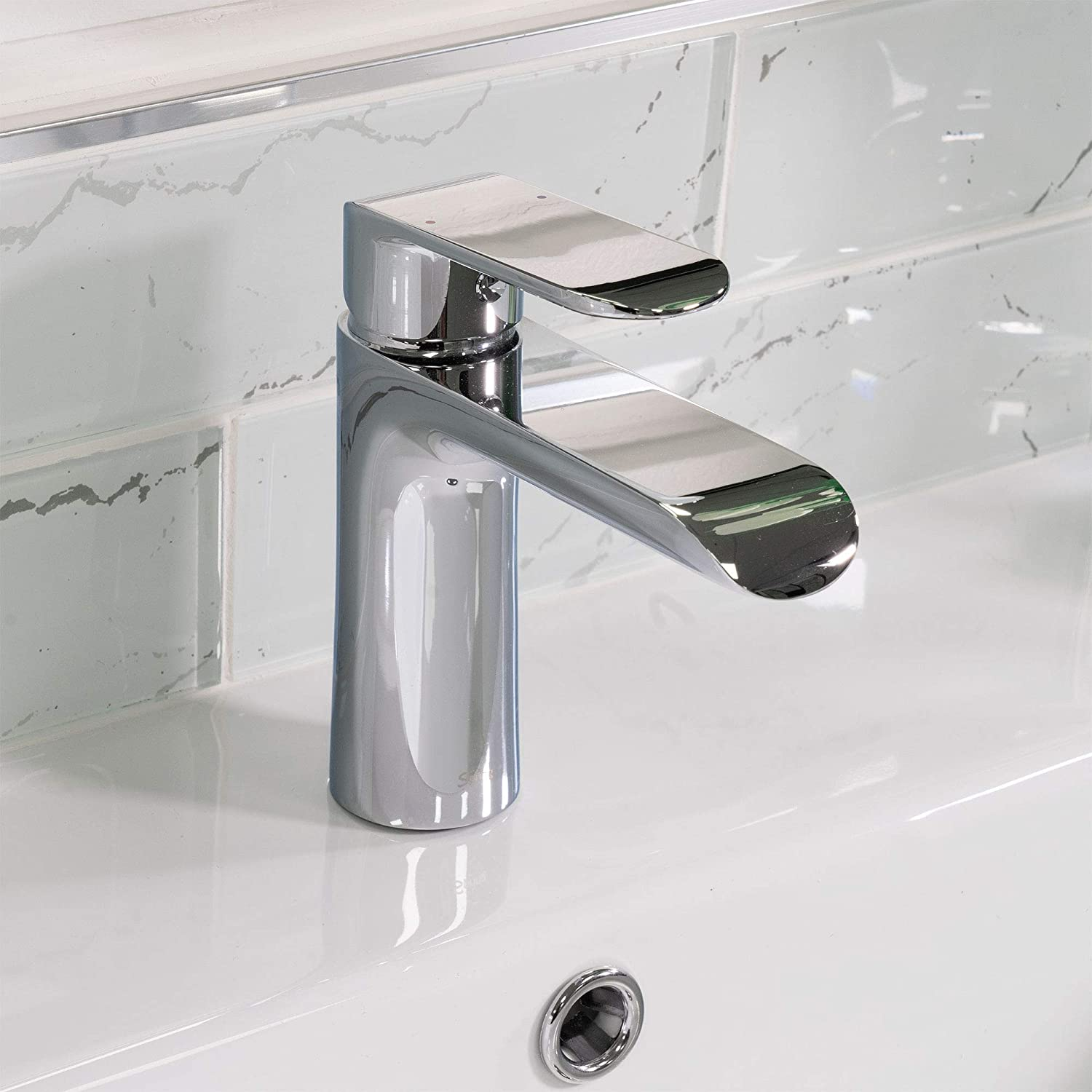 Spring Chrome Bathroom Sink Faucet Single Handle Brass Material Faucet 1 Hole Easy Installation Pop Up Drain Assembly Included Wdg16431c By Koozzo Amazon Com