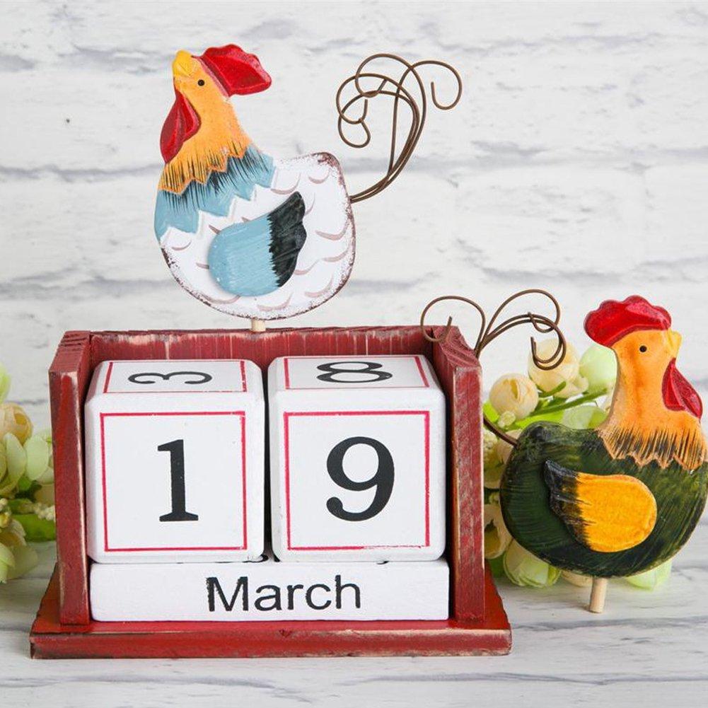 Bird Olpchee Creative Vintage Desktop Desk Wooden Perpetual Block Calendar for Home Office Decoration