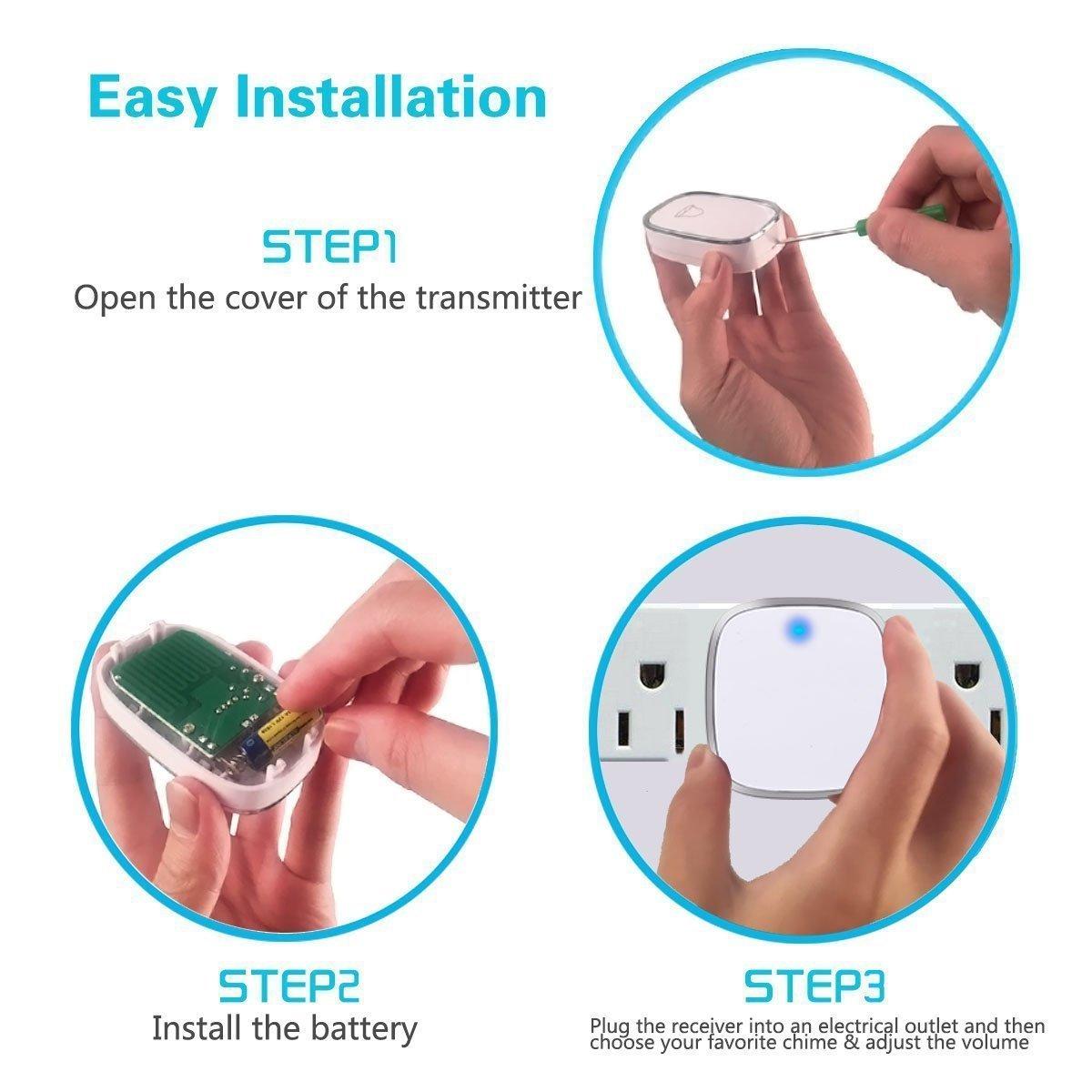 Timbre Inalámbrico,IPSmart Kit de Timbre inalámbrico Exterior Impermeable 3 Transmisor y 2 Receptores Timbre Plug-in sin Hilos a un Rango de 900ft de ...