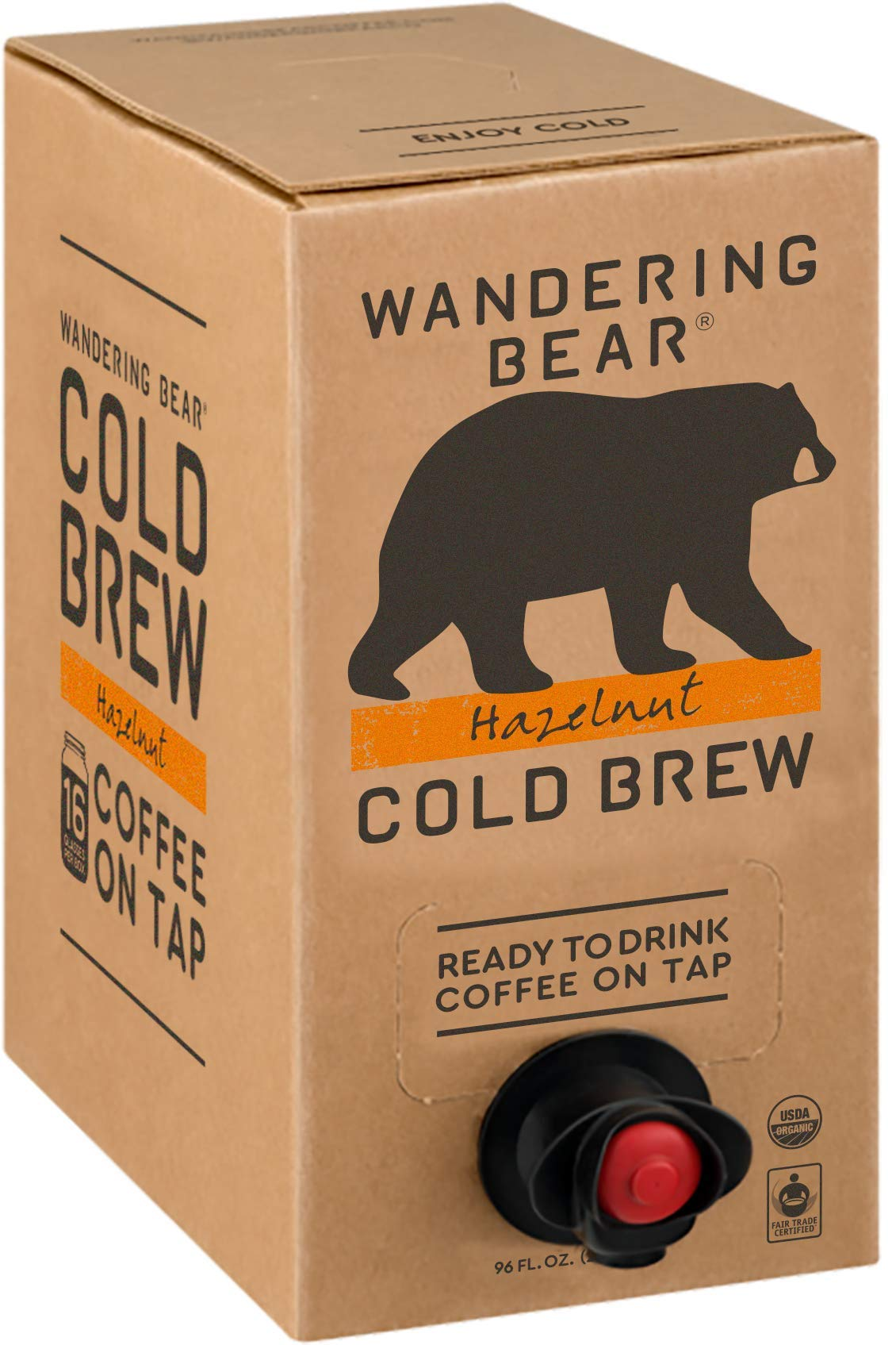 Wandering Bear Organic Cold Brew Coffee On Tap, Hazelnut, No Sugar, Always Fresh and Ready to Drink, Not a Concentrate, 96 fl oz by Wandering Bear