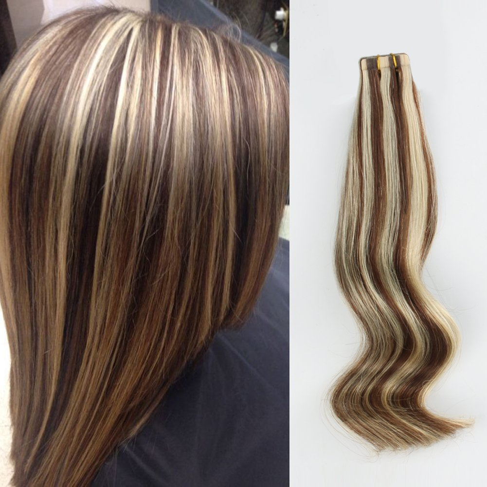 ABH AmazingBeauty Hair Pre-taped Sun kissed Highlight Hair Tape in Extensions Real Remy Human Hair Skin Weft, Invisible, Seamless, Light Chocolate Brown with Light Golden Blonde P4-22, 18 Inch by ABH AMAZINGBEAUTY HAIR