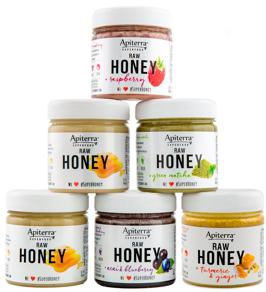 HONEY Gift set with Superfoods - Holiday Gift Set, Jam & Jelly Gift Set - 48 Ounce by Apiterra