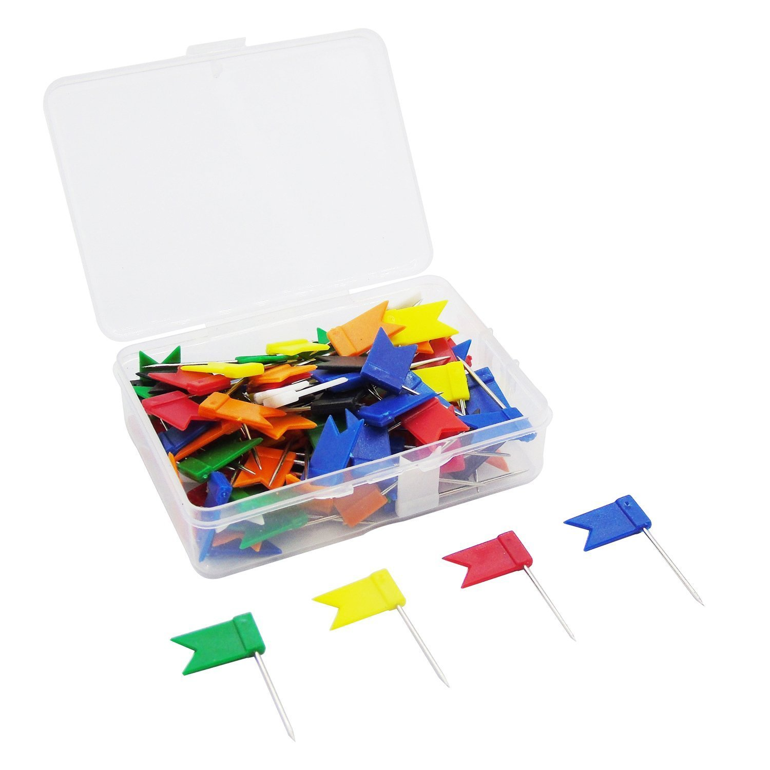 Cisixin 100 Pieces 7 Assorted Colors Map Flag Push Pins, Map Mark, Cork Board Tacks- 25 mm