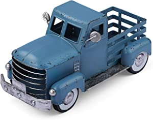 Blue Truck Decor, Vintage Metal Truck Planter, Farmhouse Pick-up Truck Spring Decorations & Decorative Tabletop Storage (Small Size)