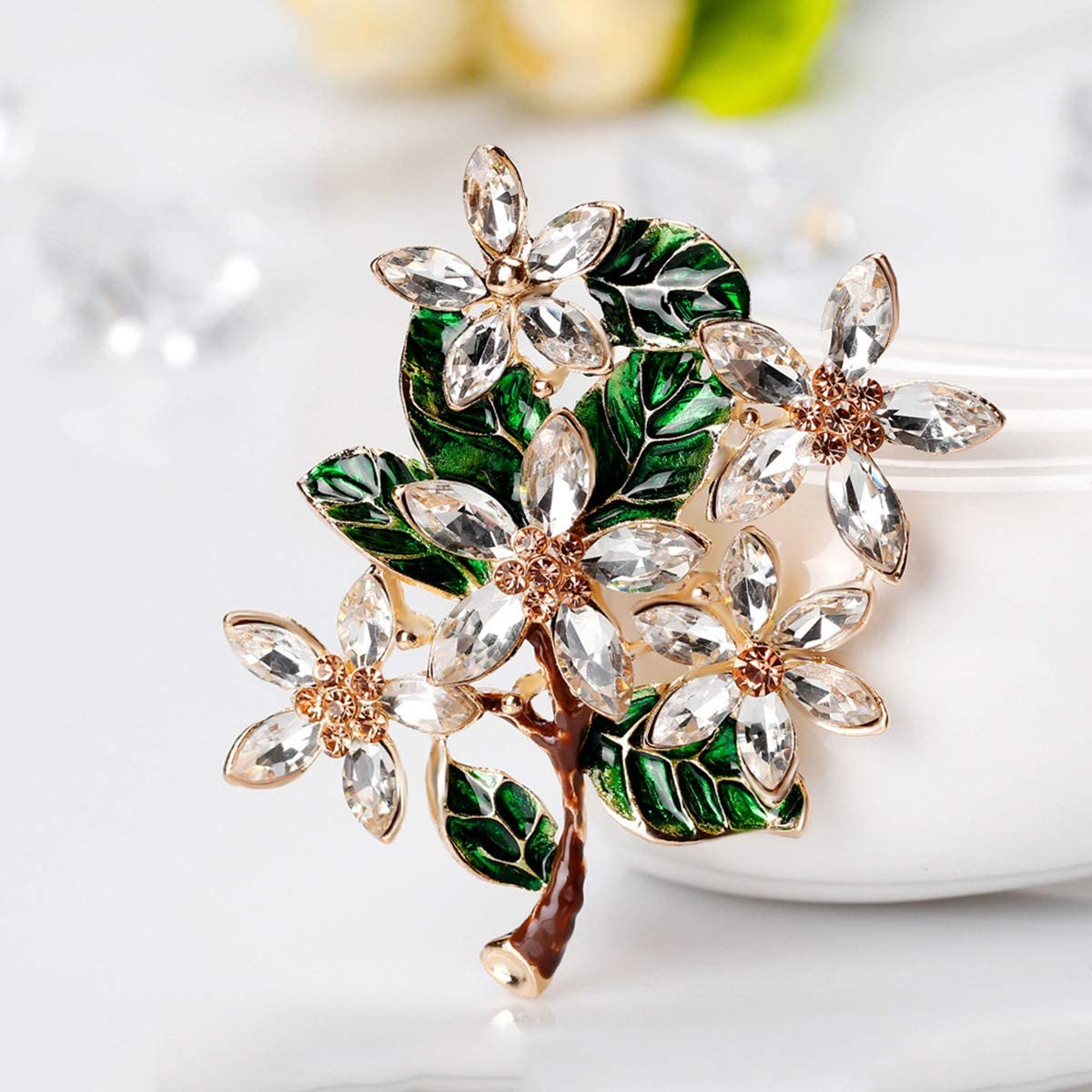 Mecool Broche en forme de fleurs Broches et /épingles Brillants de synth/èses brillantes Zircone cubique