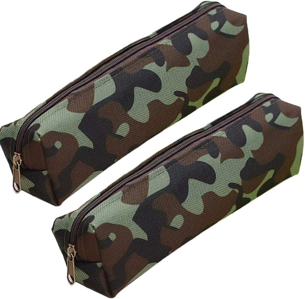 Pencil Case Holder Bag Pen Organizer Camo Zip Make-up Storage for School Supplies Office Stuff Green,Pack of 2