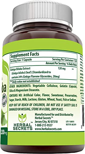 Herbal Secrets Ginkgo Biloba Supplement – 120 mg 120 Capsules Non-GMO Ginkgo Leaf Extract- Standardized to Contain 24 Ginkgo Flavone Glycosides- Supports Brain Health Mental Alertness*