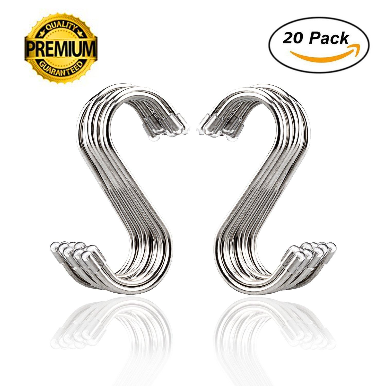 20 Pack S Shaped Hooks Stainless Steel Metal Hangers Hanging Hooks for Kitchen, Work Shop, Bathroom, Garden