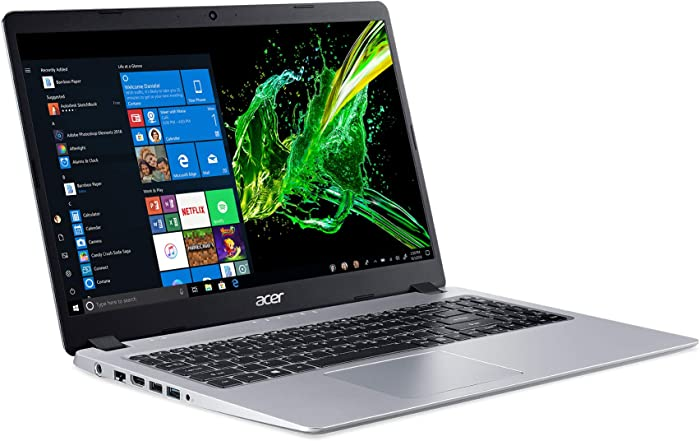"Acer Aspire 5 Slim Laptop, 15.6"" Full HD IPS Display, AMD Ryzen 5 3500U, Vega 8 Graphics, 8GB DDR4, 256GB SSD, Backlit Keyboard, Windows 10 Home, A515-43-R5RE, Silver"