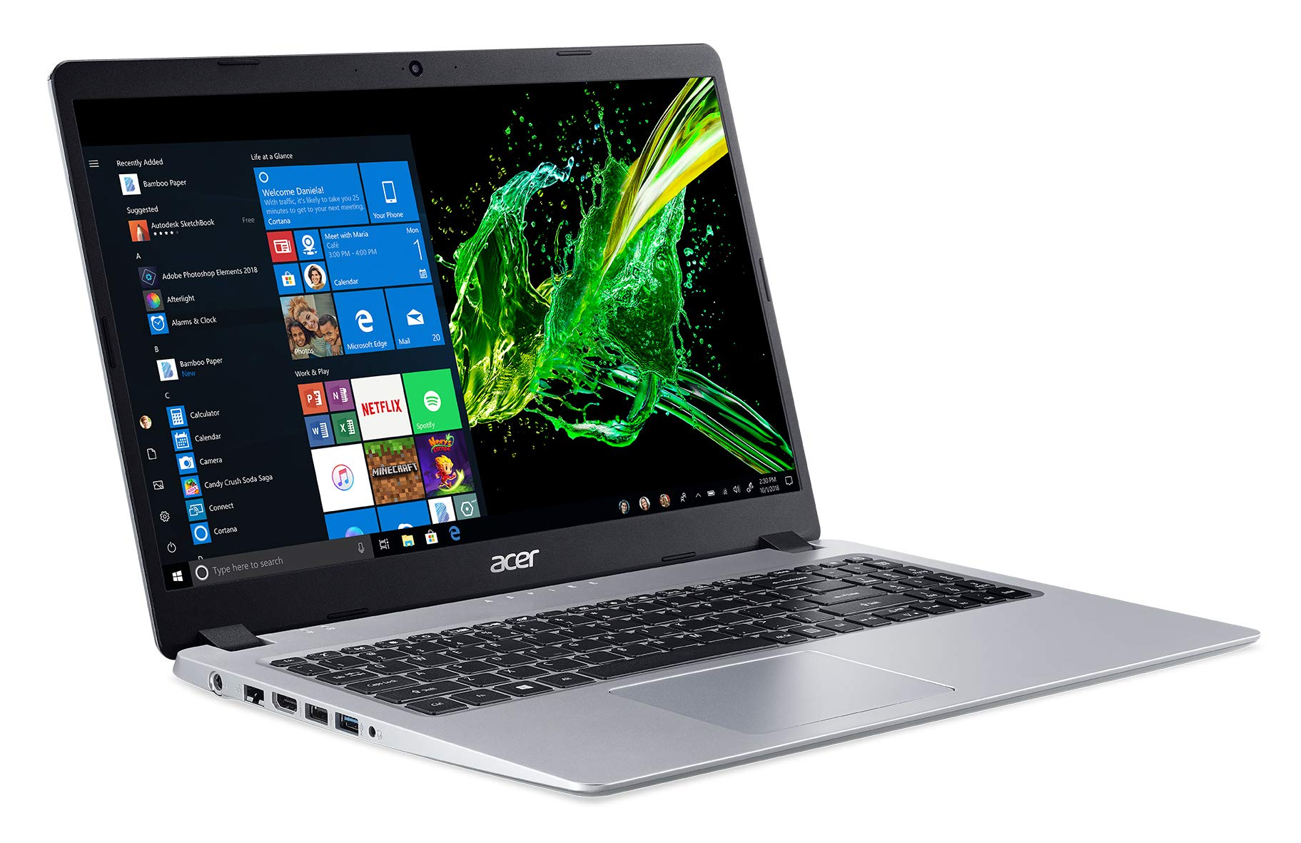 "Acer Aspire 5, 15.6"" Full HD IPS Display, AMD Ryzen 3 3200U, Vega 3 Graphics, 4GB DDR4, 128GB SSD, Backlit Keyboard, Windows 10 in S Mode, A515-43-R19L 1"