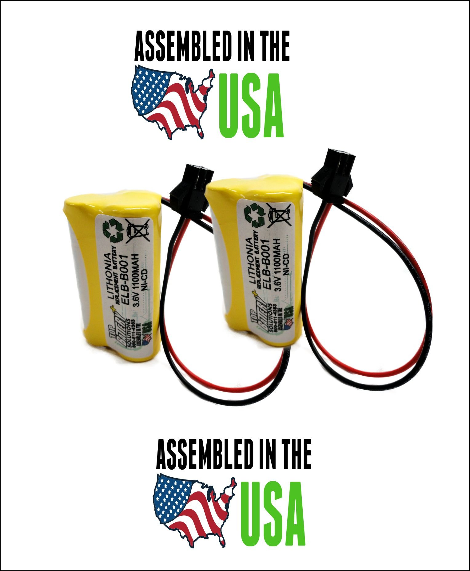 2PC Lithonia ELB B001 Replacement Emergency Light Battery by TOP BATTERY SOLUTIONS