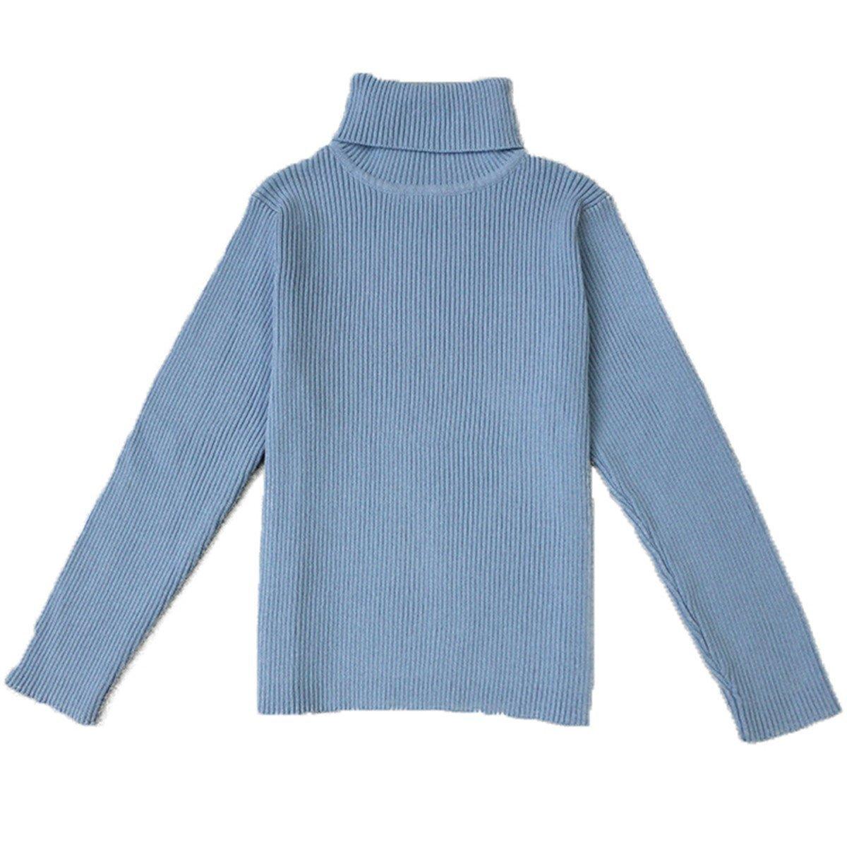 Little Baby Turtleneck Long Sleeve Sweater Basic Solid Fine Knit Warm Sweatshirt Pullover Base Tops (4-5 Years, Blue) by Jojobaby (Image #1)
