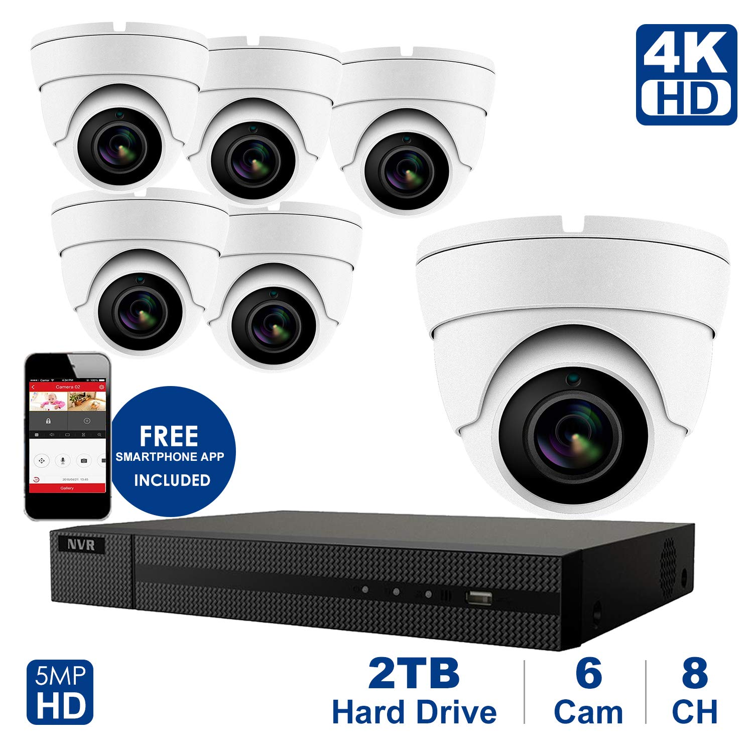 4K 8 CH NVR with Home Security System with 5MP IP Poe Dome 6pcs White Security Dome Camera,Plug and Play,Remote Home Monitoring System,2TB Storage (8 Channel System, 6pcs White Dome Cameras) by Anpvees