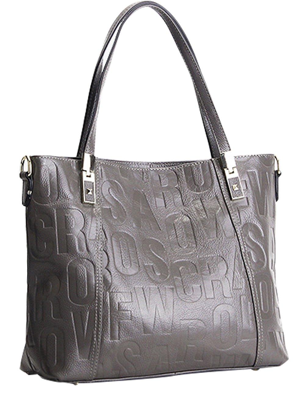 Menschwear Womens Genuine Leather Top Handle Satchel Bag Grey by Menschwear (Image #1)