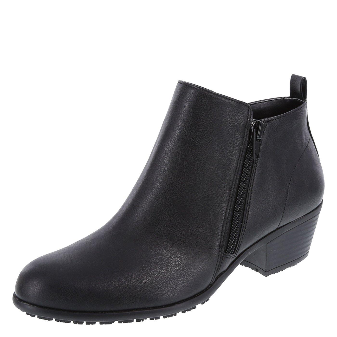 safeTstep Women's Black Women's Slip-Resistant Brenna Short Boot 6 Wide