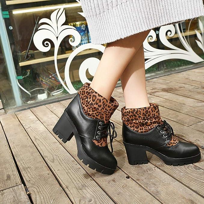 LILICAT❋ Tacón Alto con Botines de Encaje cosidos con Estampado de Leopardo, Martin Boots Leopard Lace-Up Short Plush Shoes Botines (35-43): Amazon.es: ...