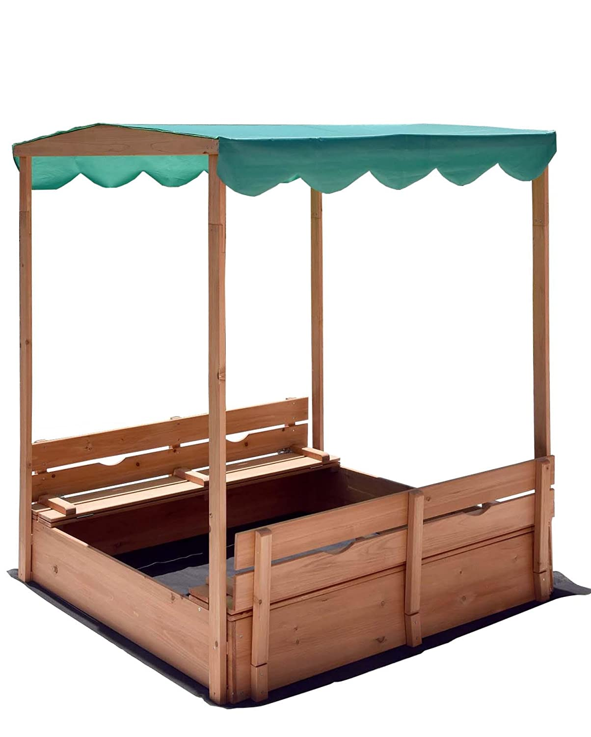 Naomi Home Kids Canopy Cedar Sandbox with Benches