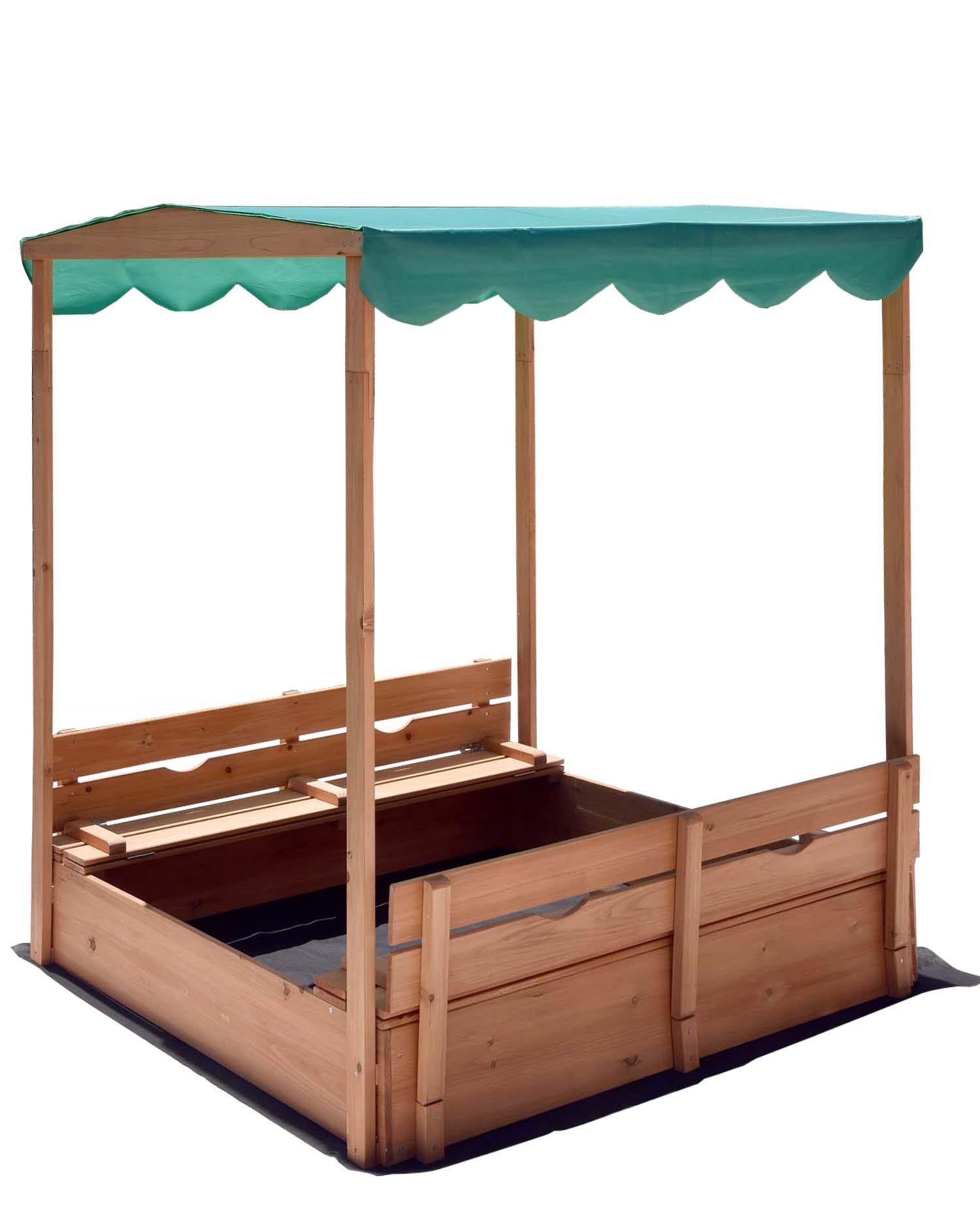 Naomi Home Kids Canopy Cedar Sandbox with Benches by Naomi Home