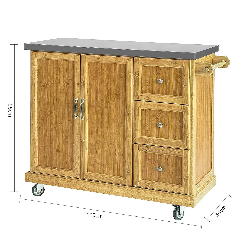 SoBuy FKW81-N Kücheninsel Küchenschrank mit 2 Türen und 3 ...