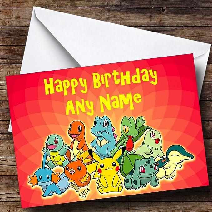 Personalizable rojo Pokemon Tarjeta de cumpleaños: Amazon.es ...
