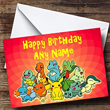 Personalised Red Pokemon Birthday Card Amazoncouk Office Products