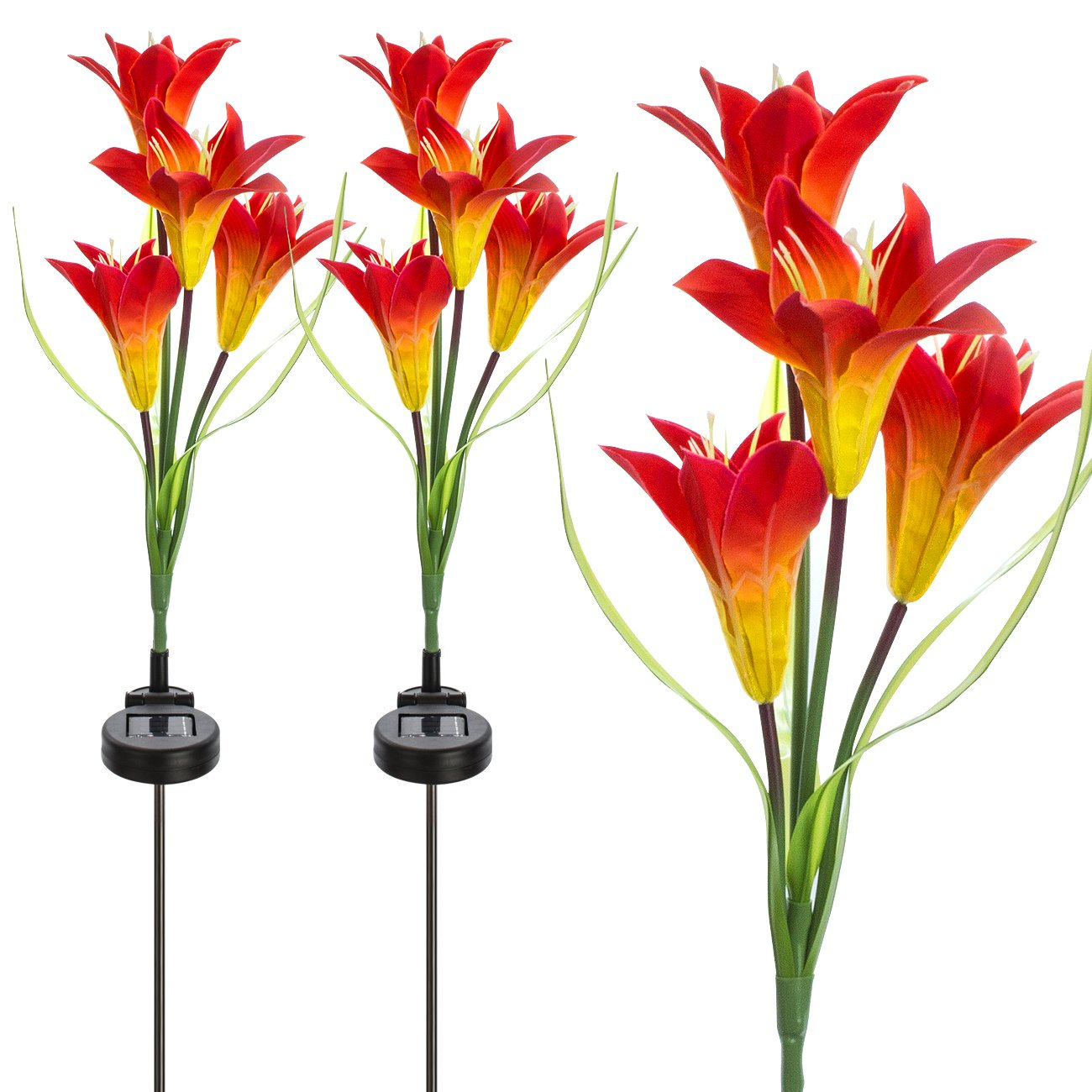 Sorbus Solar Light Flower Lily Stakes, Outdoor LED Garden Flowers for Night Lighting, Solar Path Walkway, Lawn, Garden, Pond, Patio, Gravestones, Special Occasions, etc (Orange)