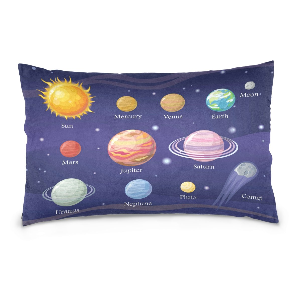 ALAZA Solar System Space Planet Star Cotton Lint Pillow Case,Double-sided Printing Home Decor Pillowcase Size 16''x24'',for Bedroom Women Girl Boy