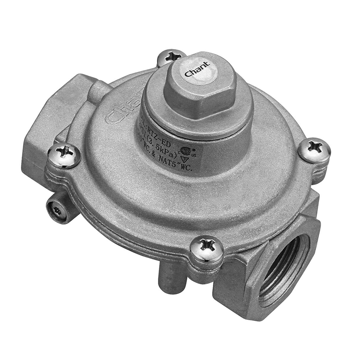 "Gas Pressure Regulator, Gasland chef GS-ED1 5/8"" FPT In/Out Gas Pipe, 1/2 PSI(3.5 kPa) Gas Inlet LPG10""WC. & NAT5""WC. Gas Pressure Regulator for Liquefied Propane and Natural Gas, Easy To Install"