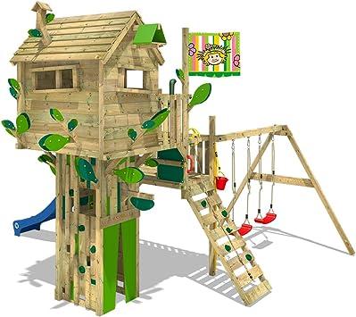 WICKEY Parque infantil de madera Smart Treetop con columpio y tobogán, Casa de juegos de jardin con escalera para niños: Amazon.es: Bricolaje y herramientas