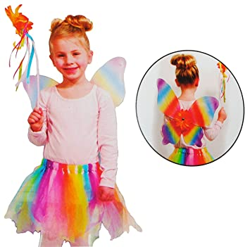 3 tlg. Kostüm Elfe / Fee - 3 bis 9 Jahre - Gr. 104 - 140 - Karneval ...