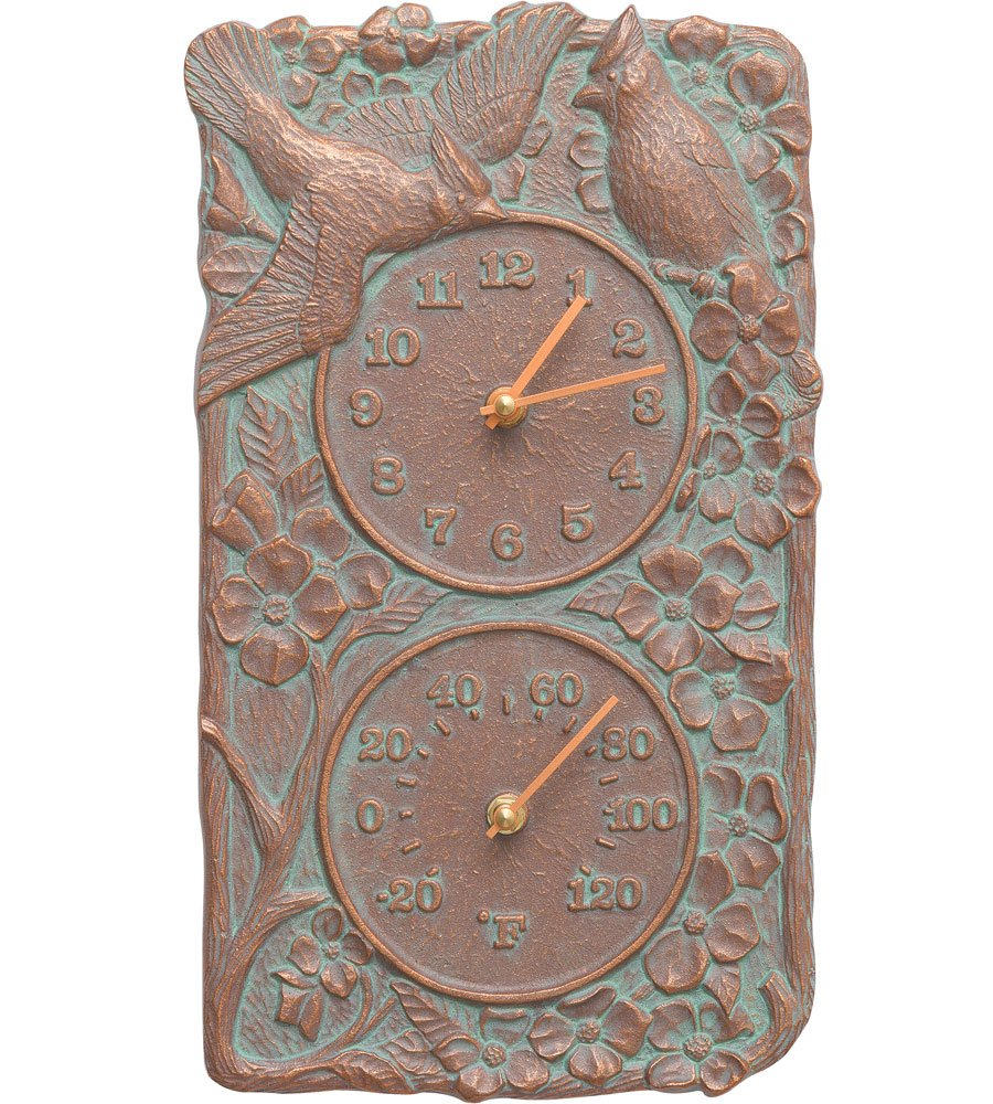K&A Company Cardinal Outdoor Thermometer and Clock, 8'' x 13.75'' x 2'' x 5 lbs, Copper Verdi