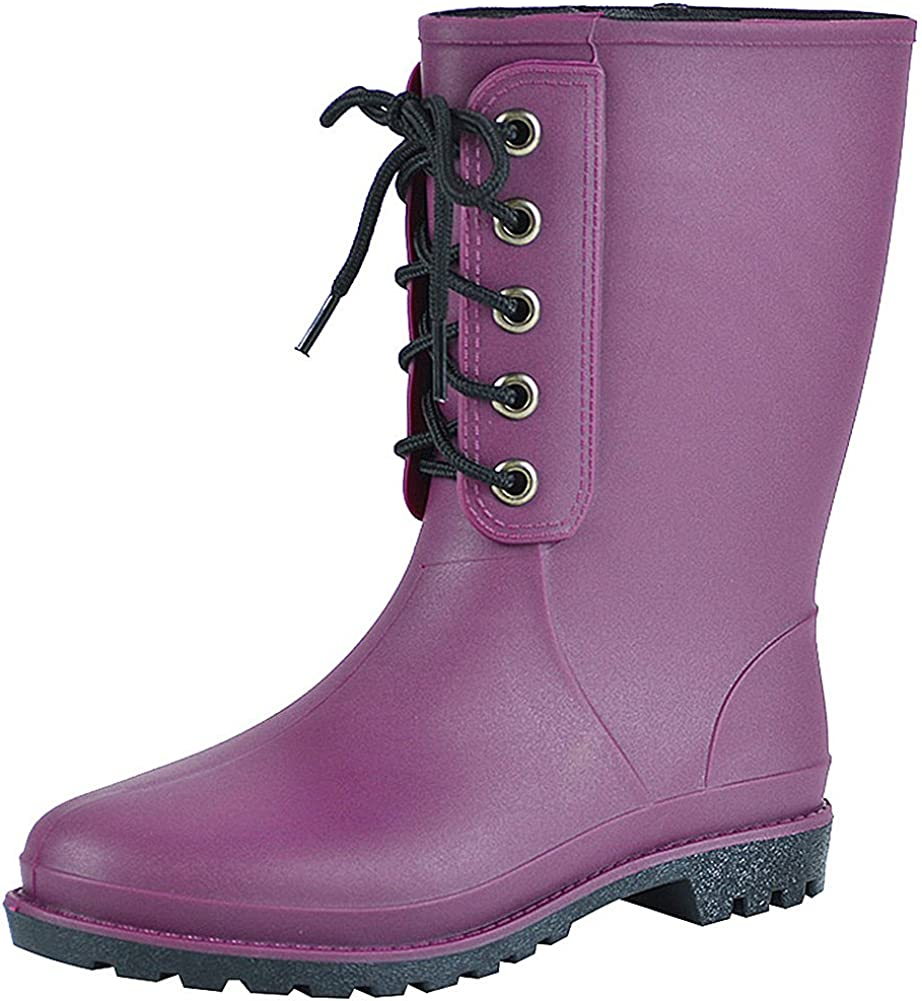 rismart Womens Classic Version Mid Calf Simple Waterproof Rain Boots