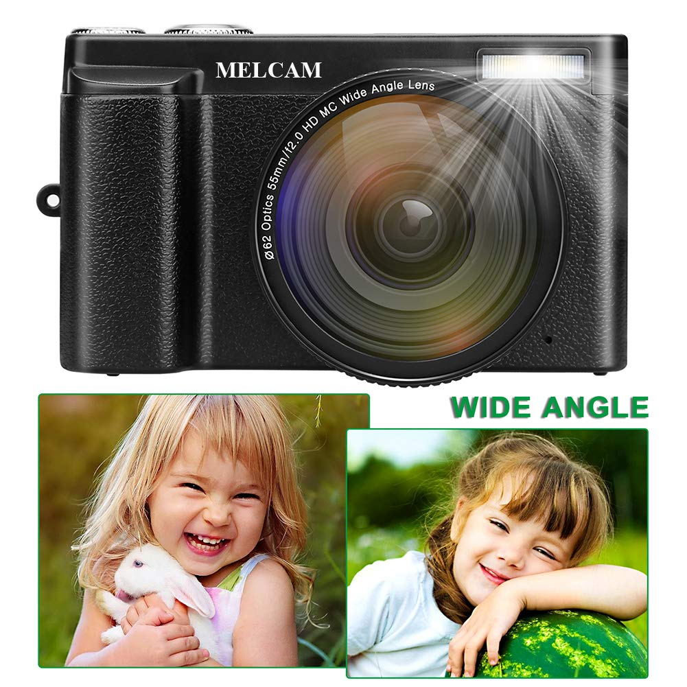Digital Camera Video Camcorder, Full HD 1080P 24 0MP MELCAM YouTube  Vlogging Camera with Wide Angle Lens and 32GB SD Card, 3 0'' Screen, WiFi