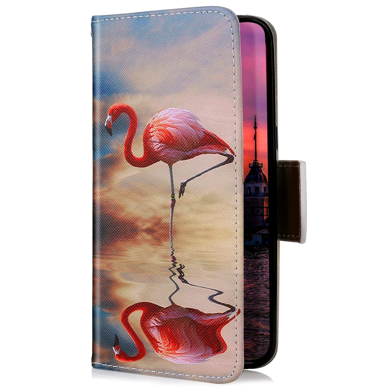 Uposao Kompatibel mit iPhone XS//iPhone X Handyh/ülle Handy Tasche Schutzh/ülle Bunt Muster Lederh/ülle Flip Case Cover Brieftasche Leder Tasche Klapph/ülle Kartenf/ächer,Flamingos