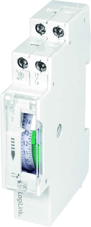 LogiLink ET0009 ET0009-DIN-RAIL - Temporizador con Temporizador mecánico para Cambiar fácilmente por Ejemplo Luces de neón, Calentadores de Agua, linternas, Sistemas de riego, etc, protección IP20