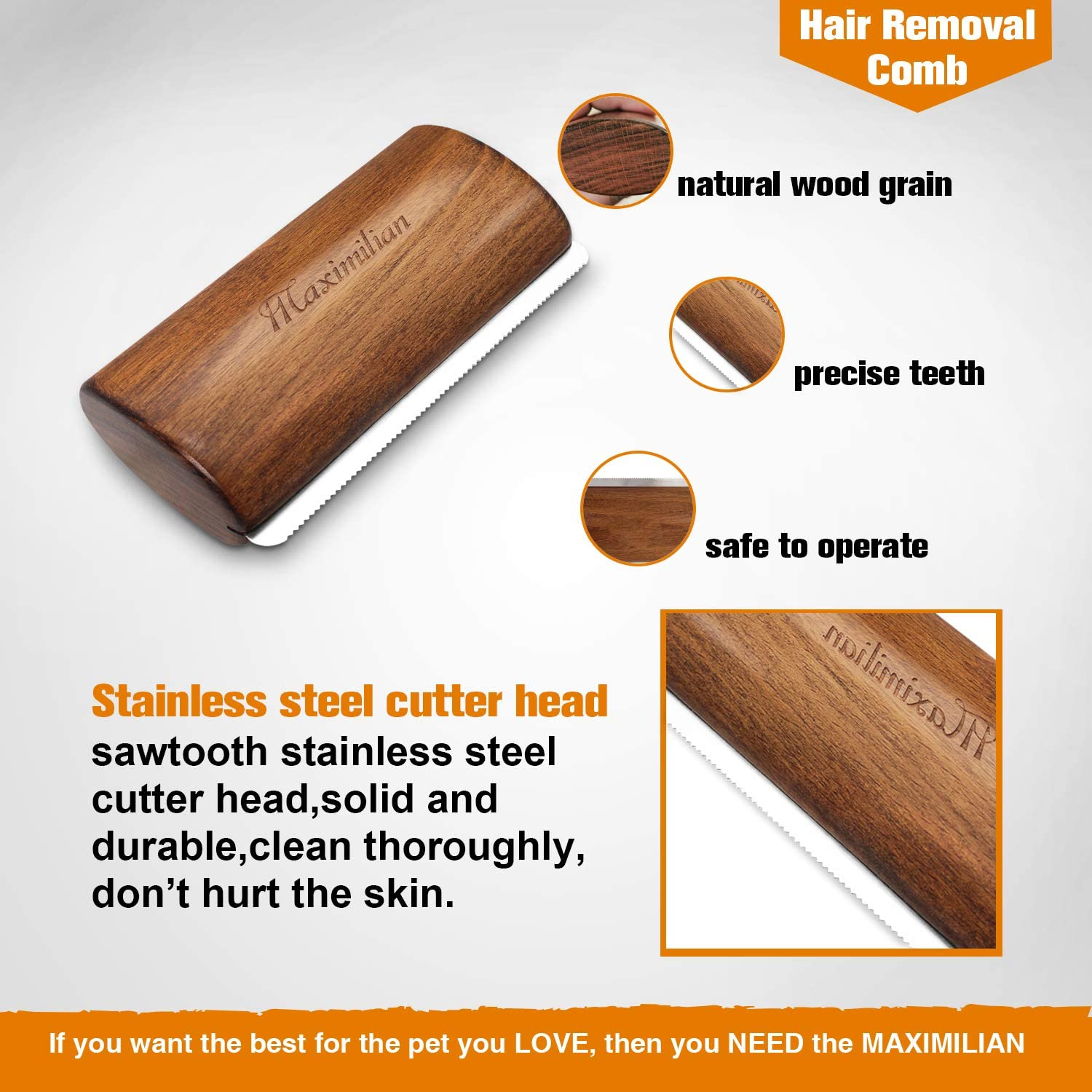 Premium Handmade Deshedding Grooming Comb for Dogs Undercoat Wood Groom Brush for Short /& Long Hair, Professional Shedding Blade Painlessly Remove 92/% of Loose Hair Fur /& Dirt. Cats /& Horses